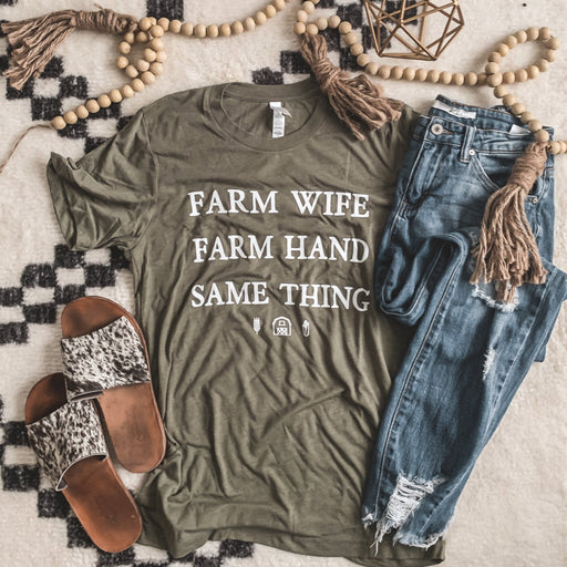 """Farm Wife"" Graphic Tee in Olive"