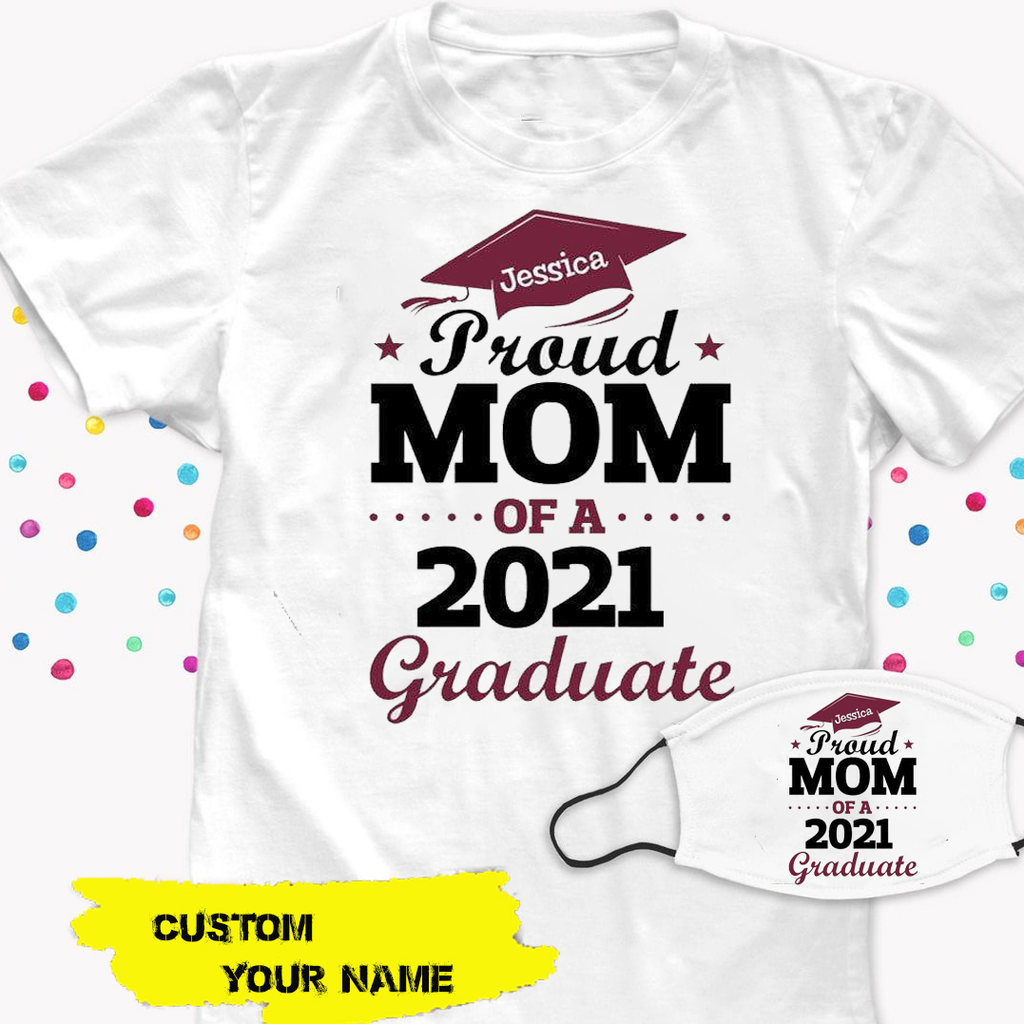 Proud Mom/Grandma/Aunt/Dad/Grandpa/Uncle Senior 2021 Personalized Shirt With Mask