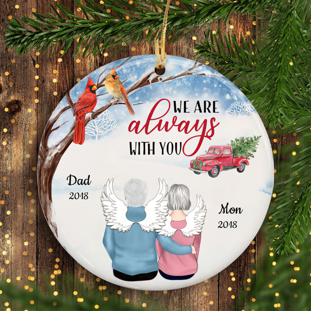 I Am Always With You Snow Christmas Photo Personalized Memorial Circle Ornament