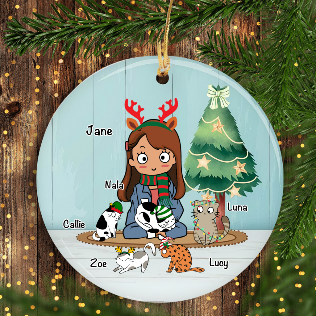 A Girl And Her Pets Personalized Cat Decorative Christmas Ornament