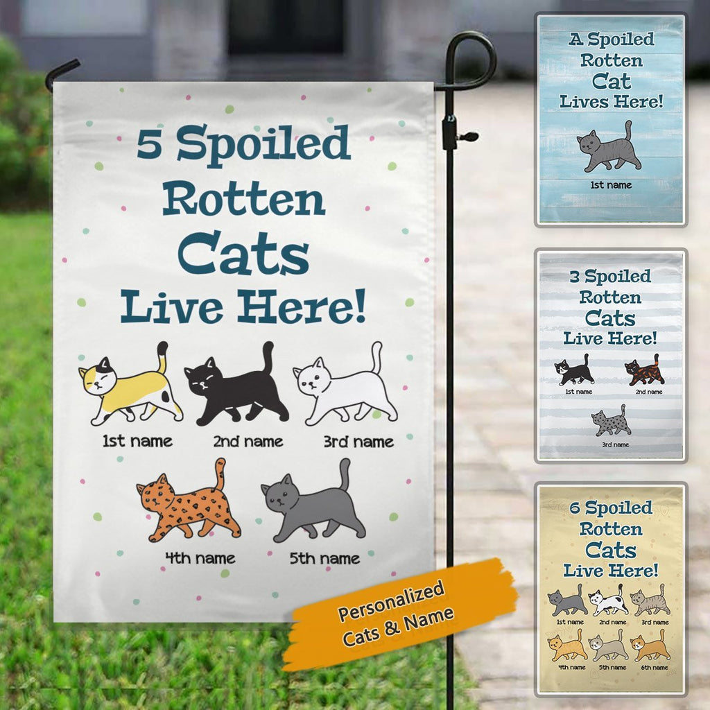 Spoiled Rotten Cat Lives Here Personalized Cat Decorative Garden Flags