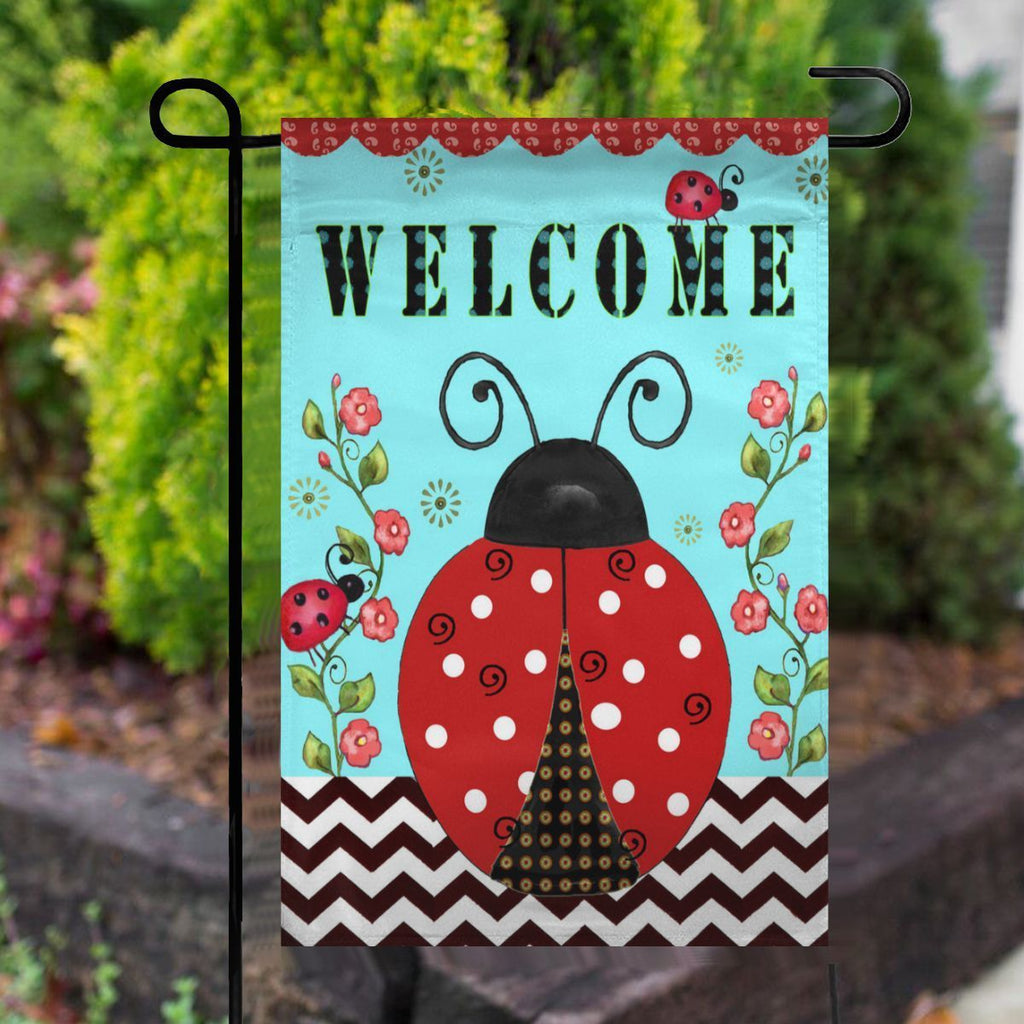 Welcome Ladybugs Spring Garden Flag No.Q5OMHK