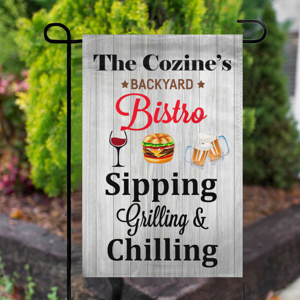 Personalized Backyard Bistro Sipping Grilling Chilling Garden Flag No.SDTAT5