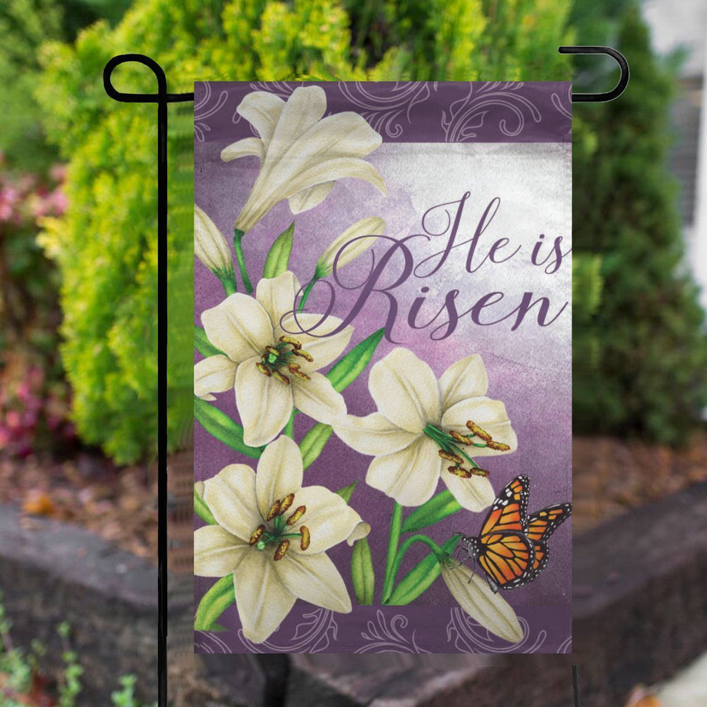 He Is Risen Lilies Easter Garden Flag No.UAVAHV