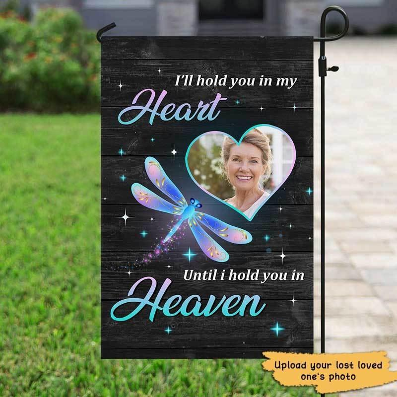 Hold You In Our Hearts Memorial Personalized Garden Flag
