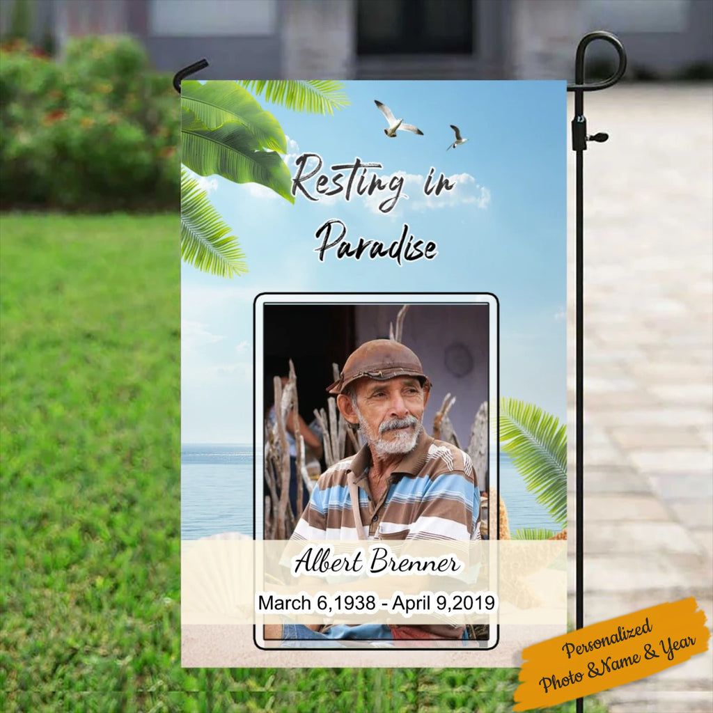 Resting in Paradise Garden Flag - Memorial Flag - Remembrance Garden Flag - Custom Photo Flag - Personalized Yard Sign