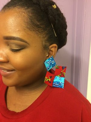 Origami diamond shaped Ankara/Batik earrings.