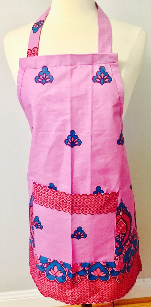 Powder pink Ankara Apron, African print, 100% Cotton