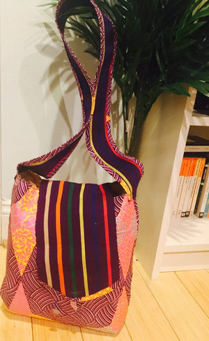 Beautiful and creatively designed Traditional Aso Oke & Ankara Print Tote bag
