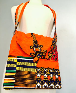 Patches African Ankara Tote/strap bag, Ghana Kente Prints, 100% cotton, patches bag, tote bag