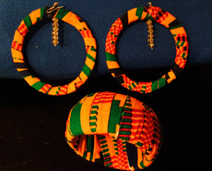 Beautiful African Kente Print Set of Loop Earring and Bangle