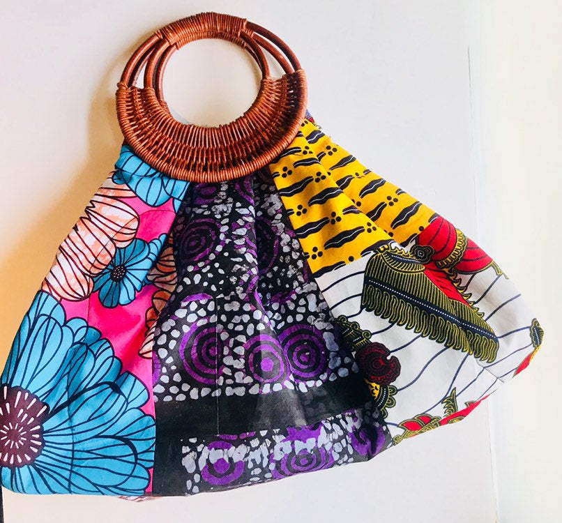 Prisca 'Boho' rattan African bag, patches bag, 100% cotton, African prints, patches ankara bag