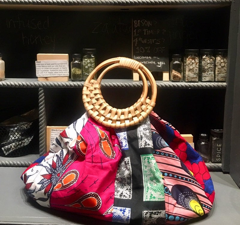 Prisca 'Boho' batik rattan African bag, patches bag, 100% cotton, African prints, patches ankara  bag