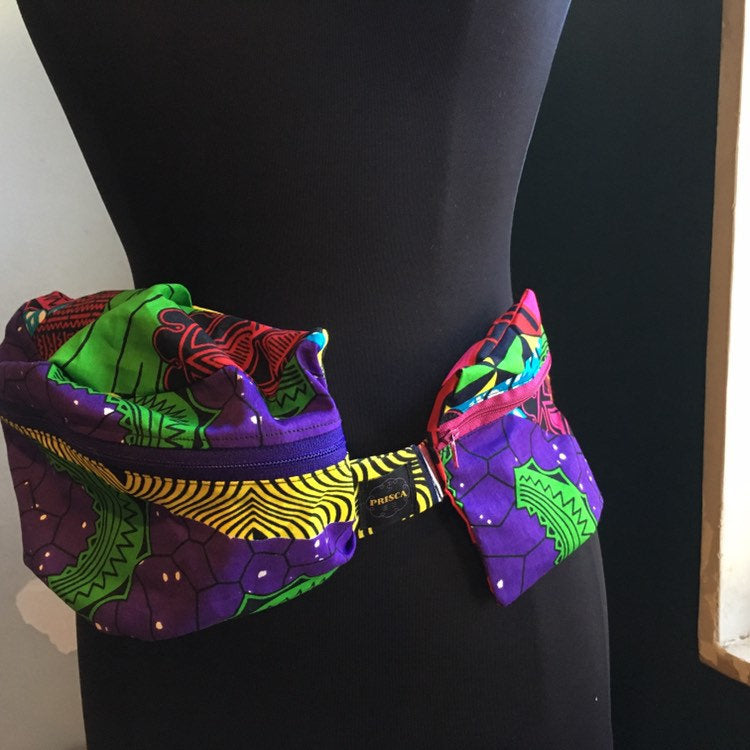 Lovely 'Oremeji' Multi prints Ankara fanny pack, fanny pack, Ethnic fabrics, 100% cotton, Ankara fanny pack