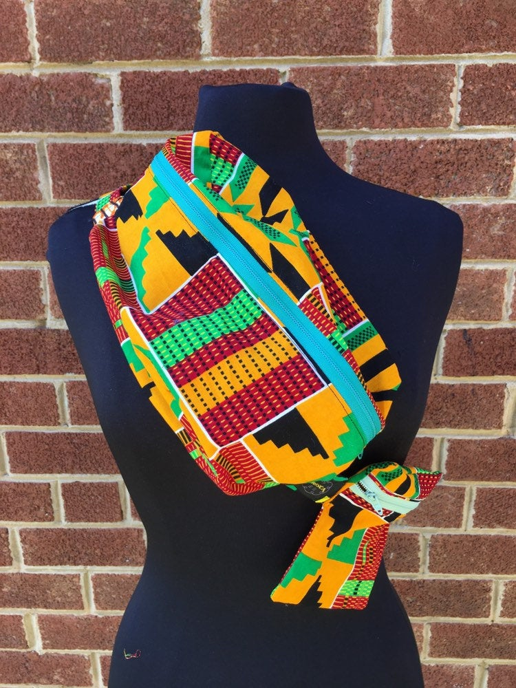 Lovely 'Oremeji' Multi prints Kente fanny pack, fanny pack, Ethnic fabrics, 100% cotton, kente fanny pack