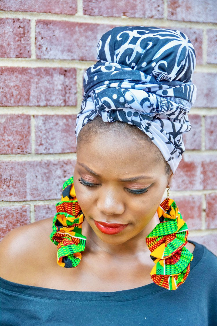 Unique set of ruffles Earrings and head wrap, Ankara Earrings, Ankara head wrap, 100% cotton fabric