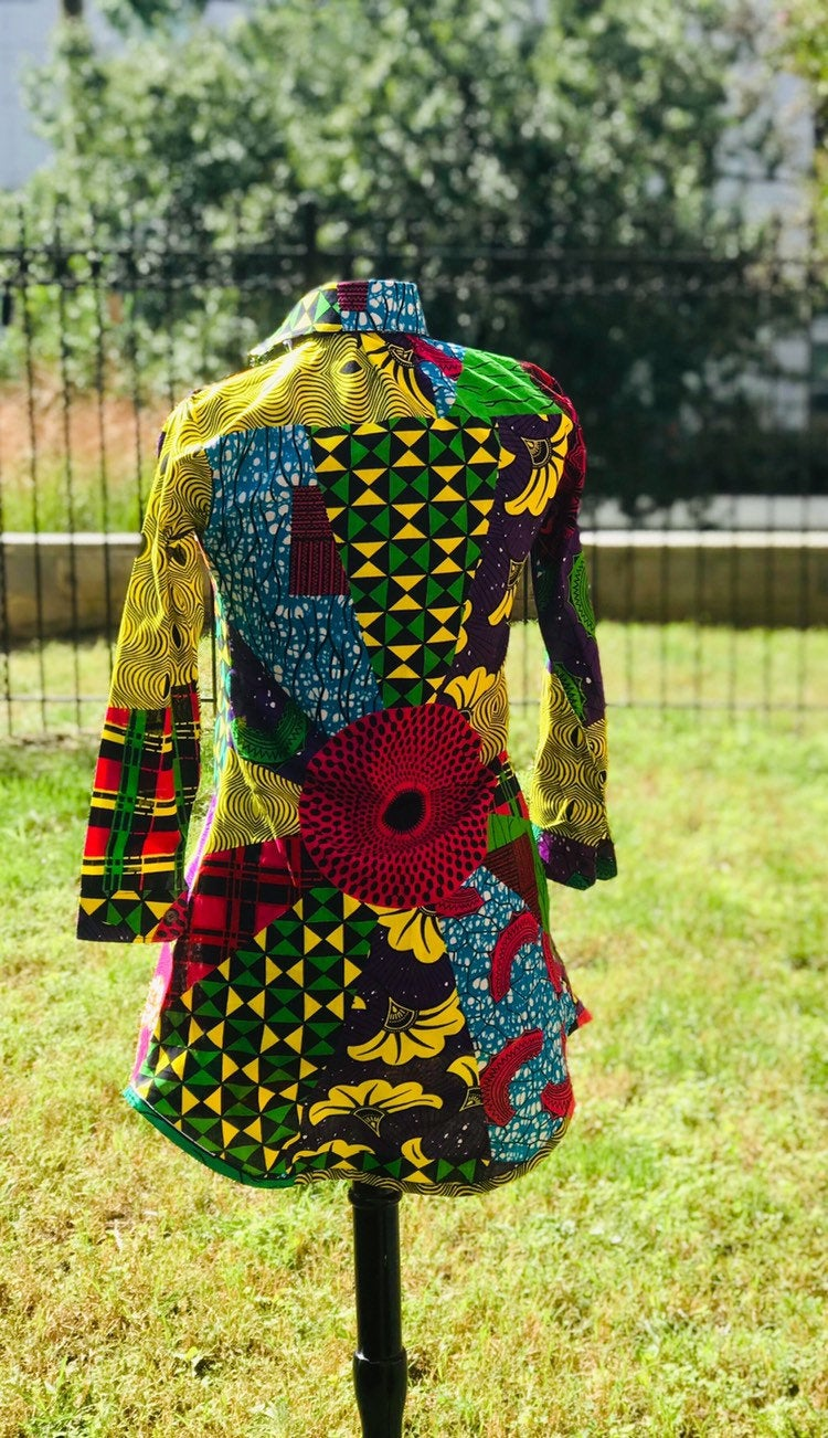 Prisca multi-print 'Michelle' Shirt dress, patchwork print, 100% cotton, Ankara print, Wax print