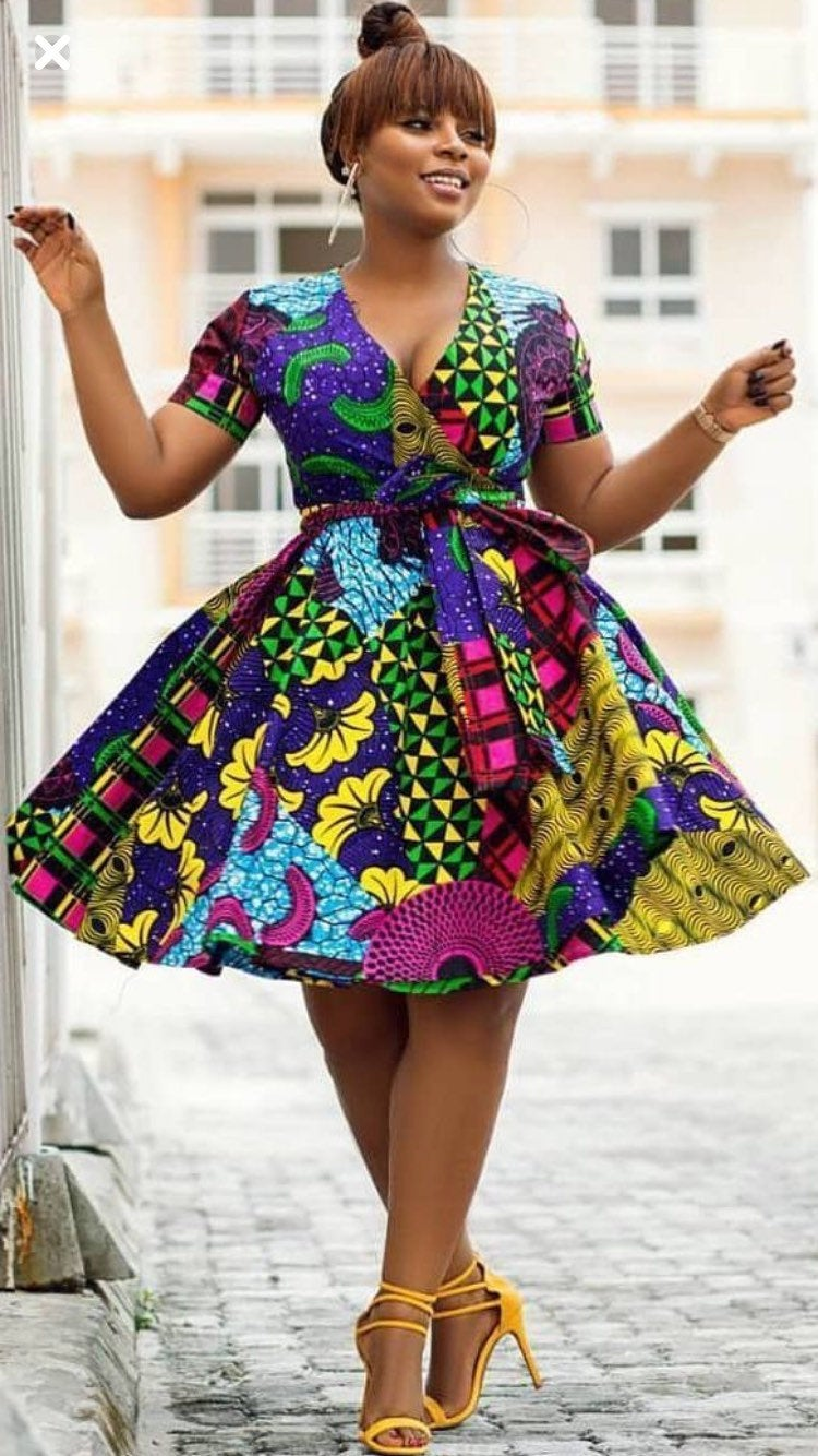 Prisca Dautièr wrap dress, Ankara dress, 100% Cotton, Wax print