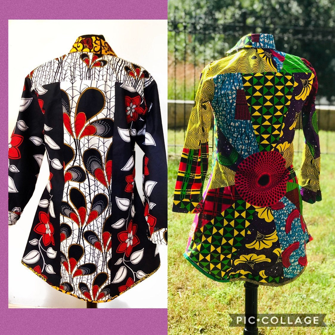 Prisca multi-print 'Michelle' Shirt dress, in Yellow/Red/Back/Blue colors, 100% cotton, Ankara print
