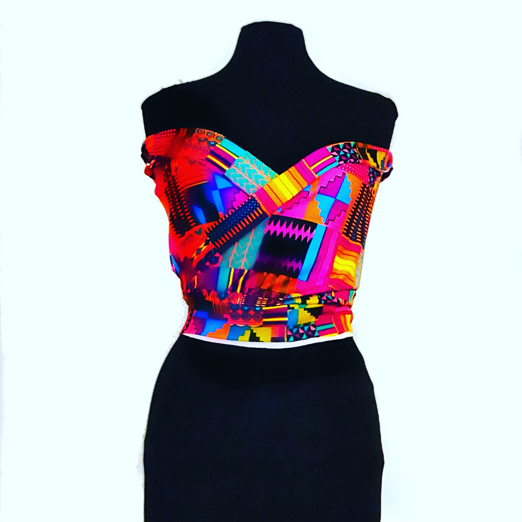 Prisca, Awa pink kente tube top, kente print, 100% Cotton, African fabric