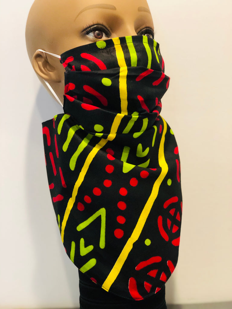 Black/Red/Green Bandana mask, 100% Cotton, linen Mud cloth