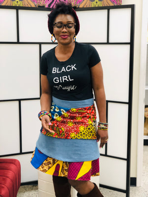 Makeba layered Skirt, Ankara/Denim fabric