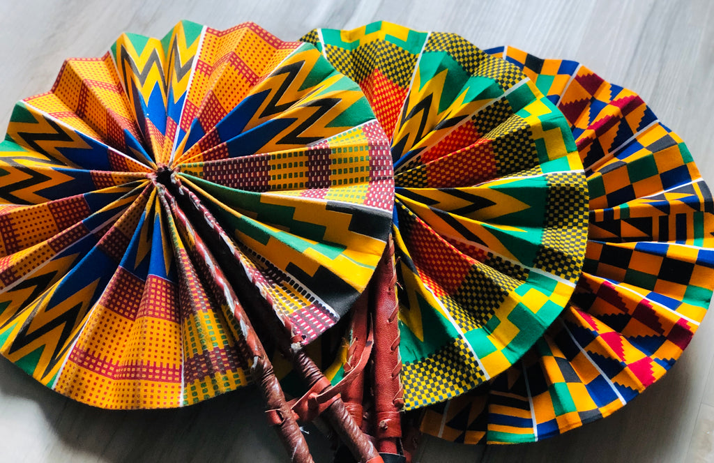 3 Kente Exotic Fabric Fans, Kente fans, 100% Cotton