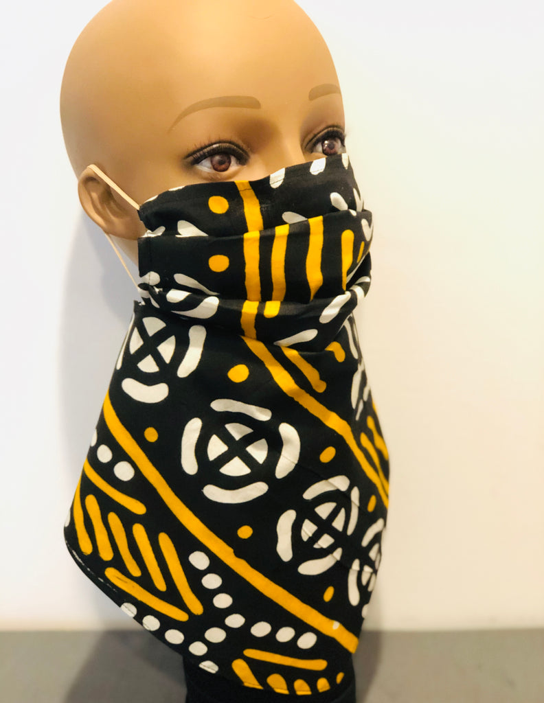 Black/Yellow bandana Mask, 100% Cotton, linen Mud cloth