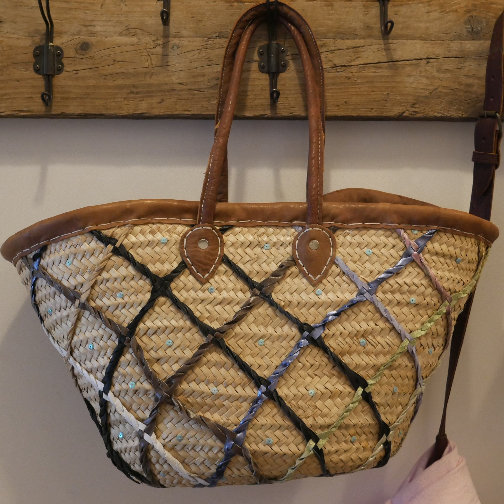 Leather & Sequin Basket