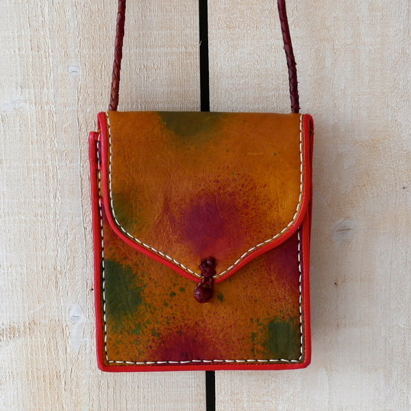 Splatter Paint Effect Leather Saddle Bag
