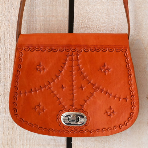Mini Tooled Leather Saddle Bag