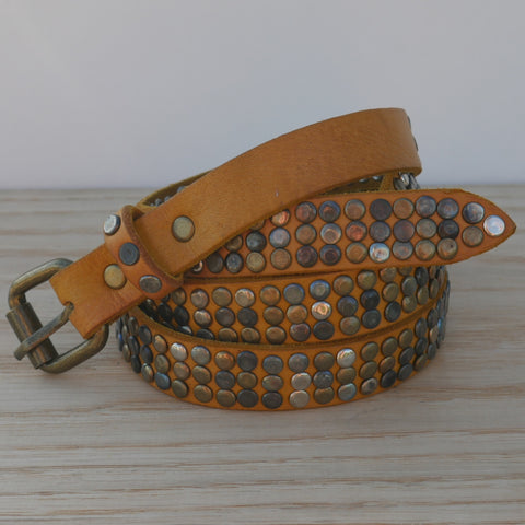 Yellow 3 Stud Belt