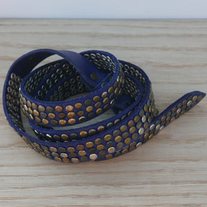 Petrol Blue 3 Stud Belt