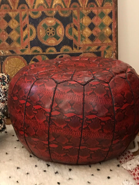Large Embossed Cow Hide Pouffe