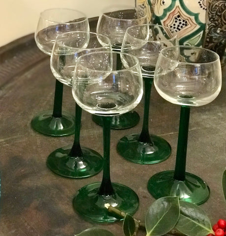 Retro green stemmed wine glasses