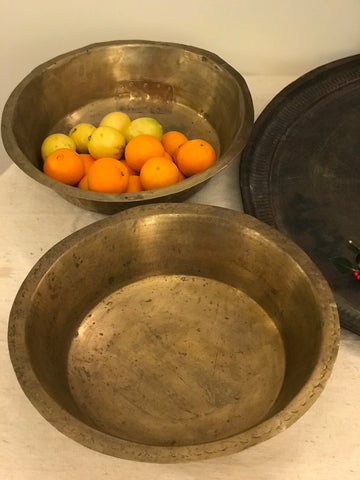 Large hand beaten brass bowls