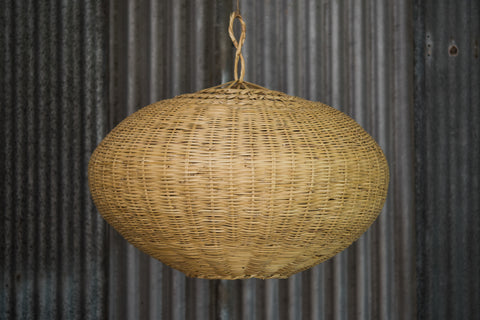 'Elipse' woven wicker lampshade