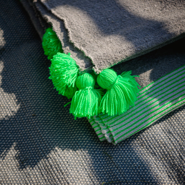 Lime Green in Grey Soft Cotton Pompom Blanket