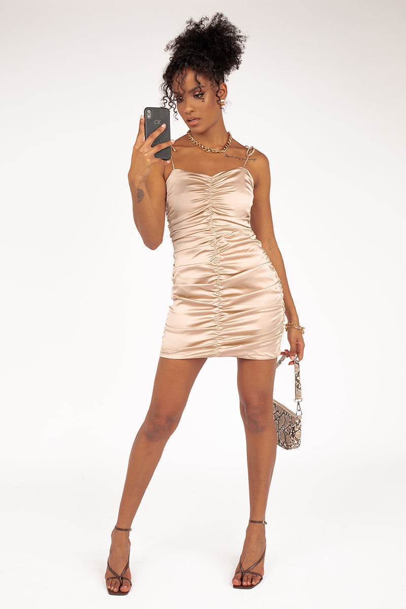 RUNWAY STYLE OYSTER MINI DRESS