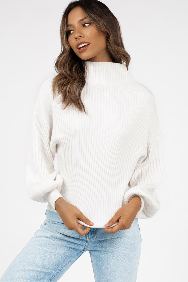 BEAU WHITE BALLOON SLEEVE KNIT