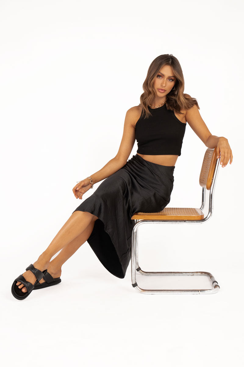 OVER IT BLACK SATIN SLIP MIDI SKIRT