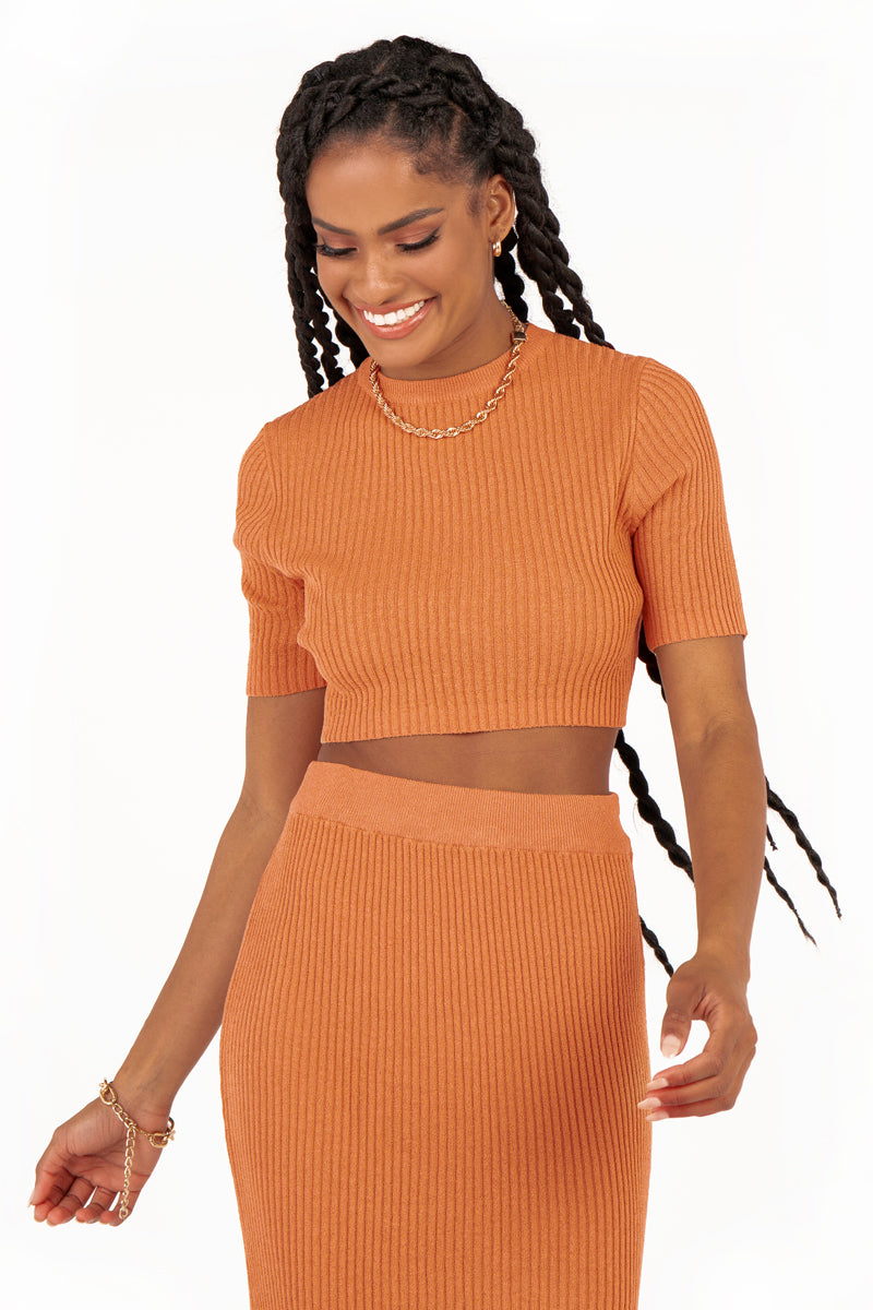 BELLS TAN KNIT CROP TOP