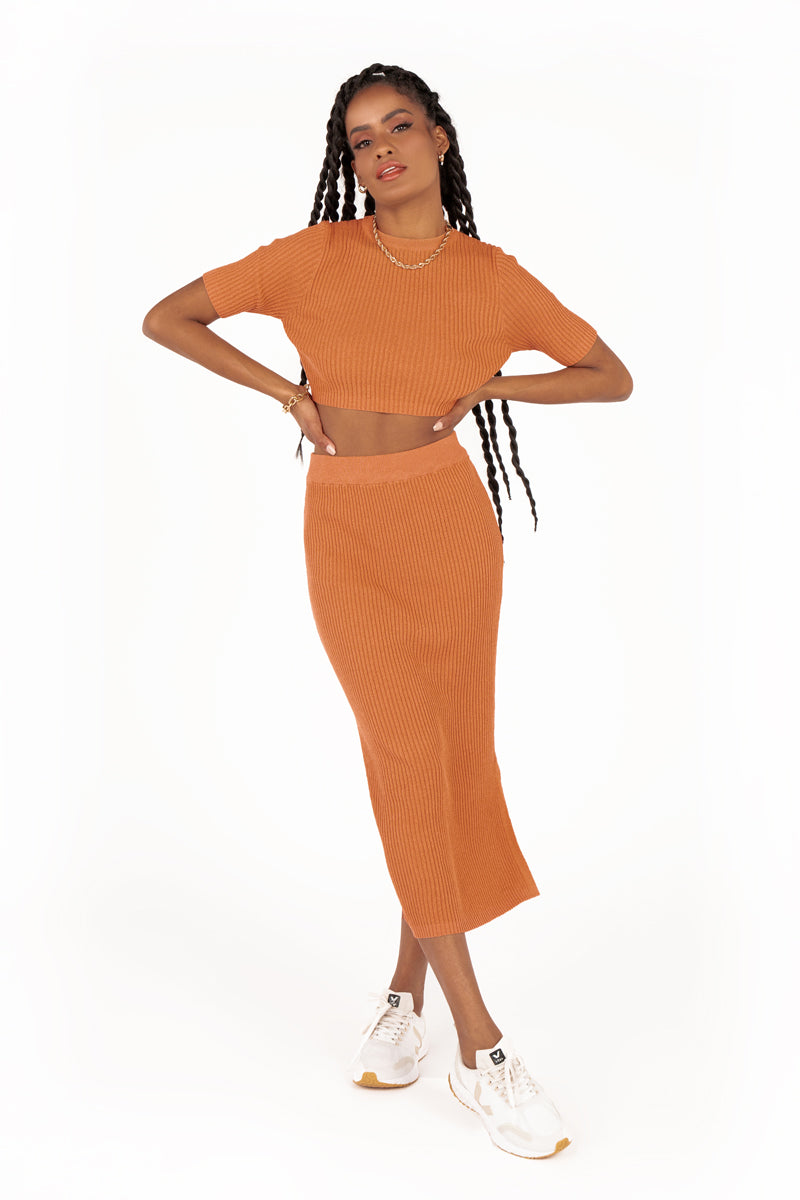 BELLS TAN KNIT MIDI SKIRT