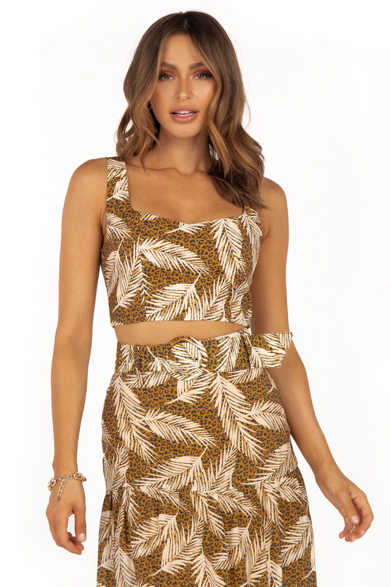 TROPICOLA LEOPARD PALM CROP TOP