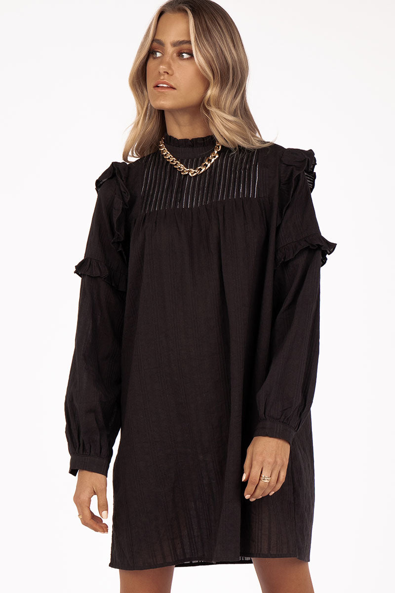 RIDE ALONG FRILL BLACK MINI DRESS