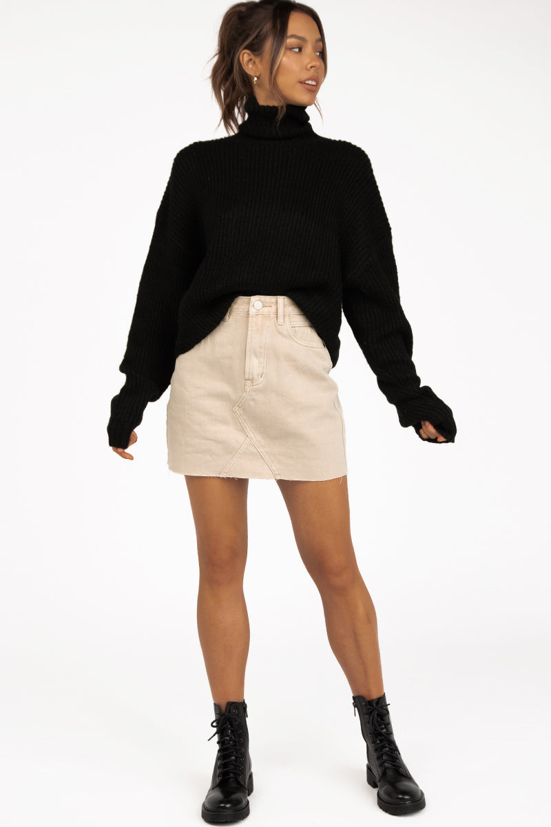 HADID BEIGE DENIM MINI SKIRT