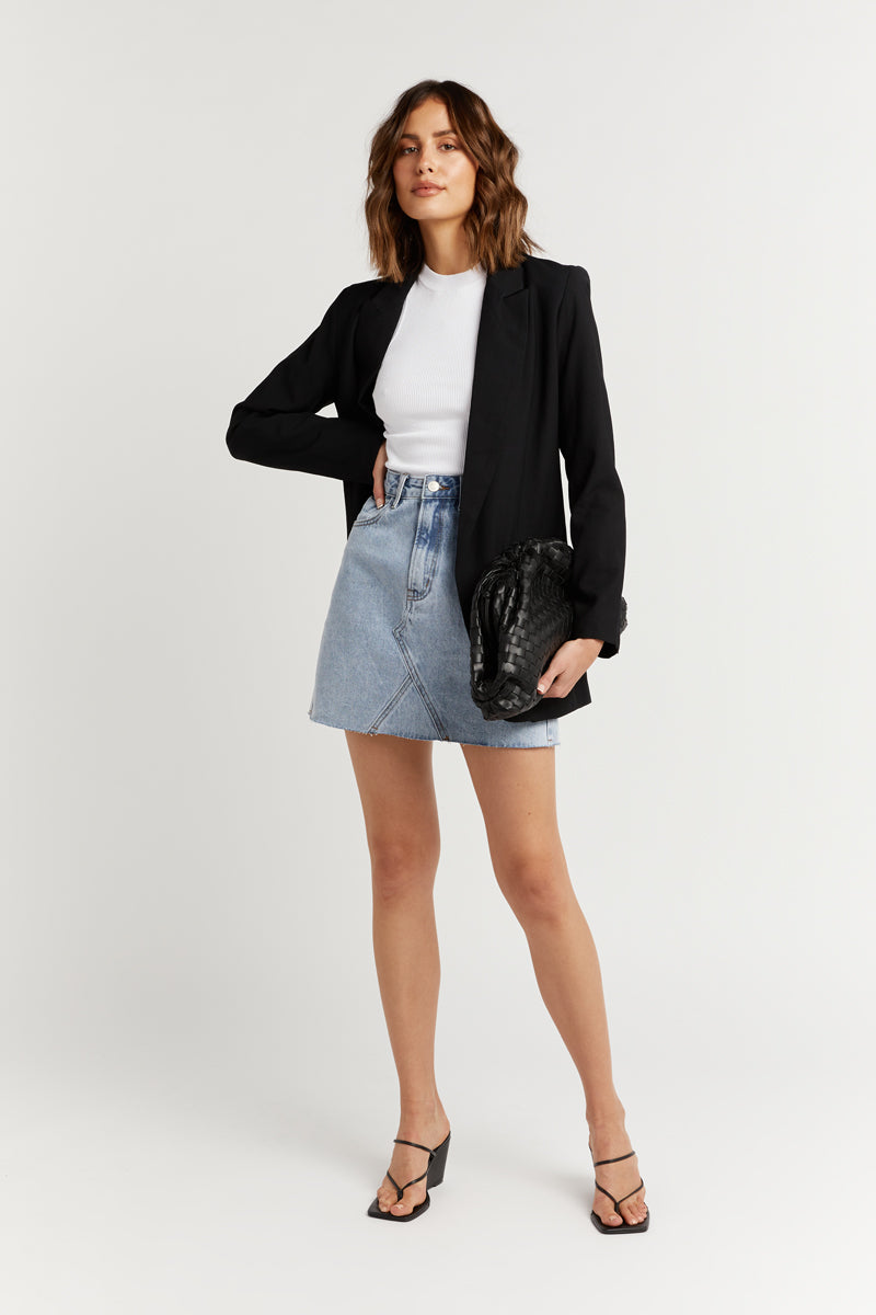 HADID LIGHT BLUE DENIM MINI SKIRT