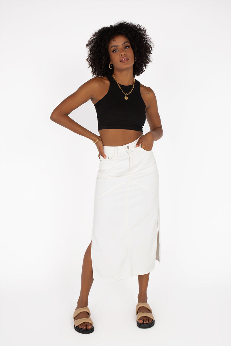 BANKS WHITE DENIM PANEL MIDI SKIRT