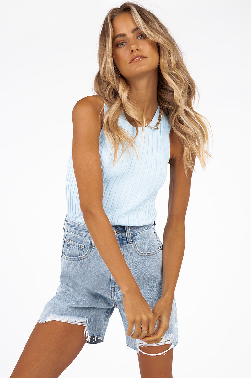 NATION LIGHT BLUE WASH DENIM SHORTS