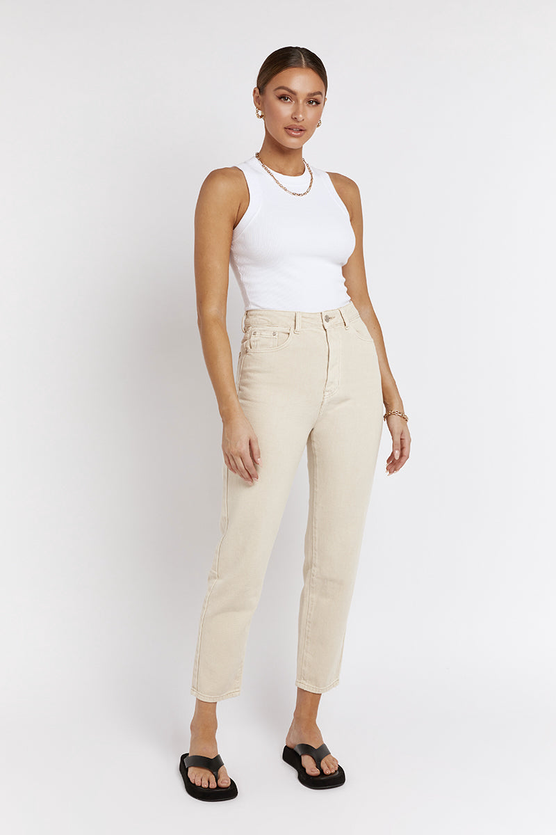 MARI BEIGE DENIM MOM JEAN
